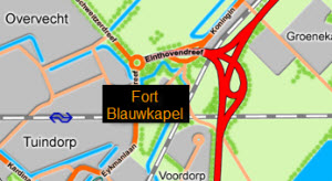 kaart fort blauwkapel